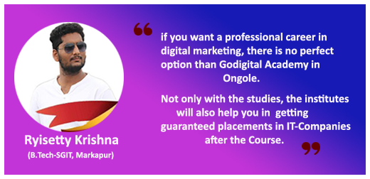 Digital Marketing courses in Ongole testimonial